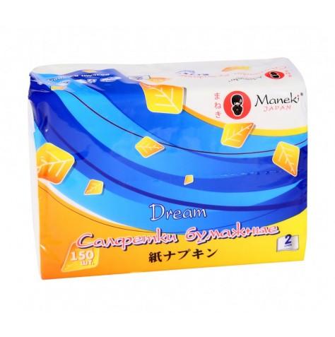 Салфетки бумажные Maneki серия Dream 2 слоя, 150 шт.97526Салфетки бумажные 2-х слойные произведены из 100% целлюлозы. Салфетки хорошо впитывают влагу и не оставляет «бумажной» пыли. Салфетки мягкие и шелковистые, не вызывают раздражения кожи, подходят для косметических целей. Отдушка нежно пахнет перфорирована не вызывает аллергических реакций. Материал: целлюлоза; цвет: белый