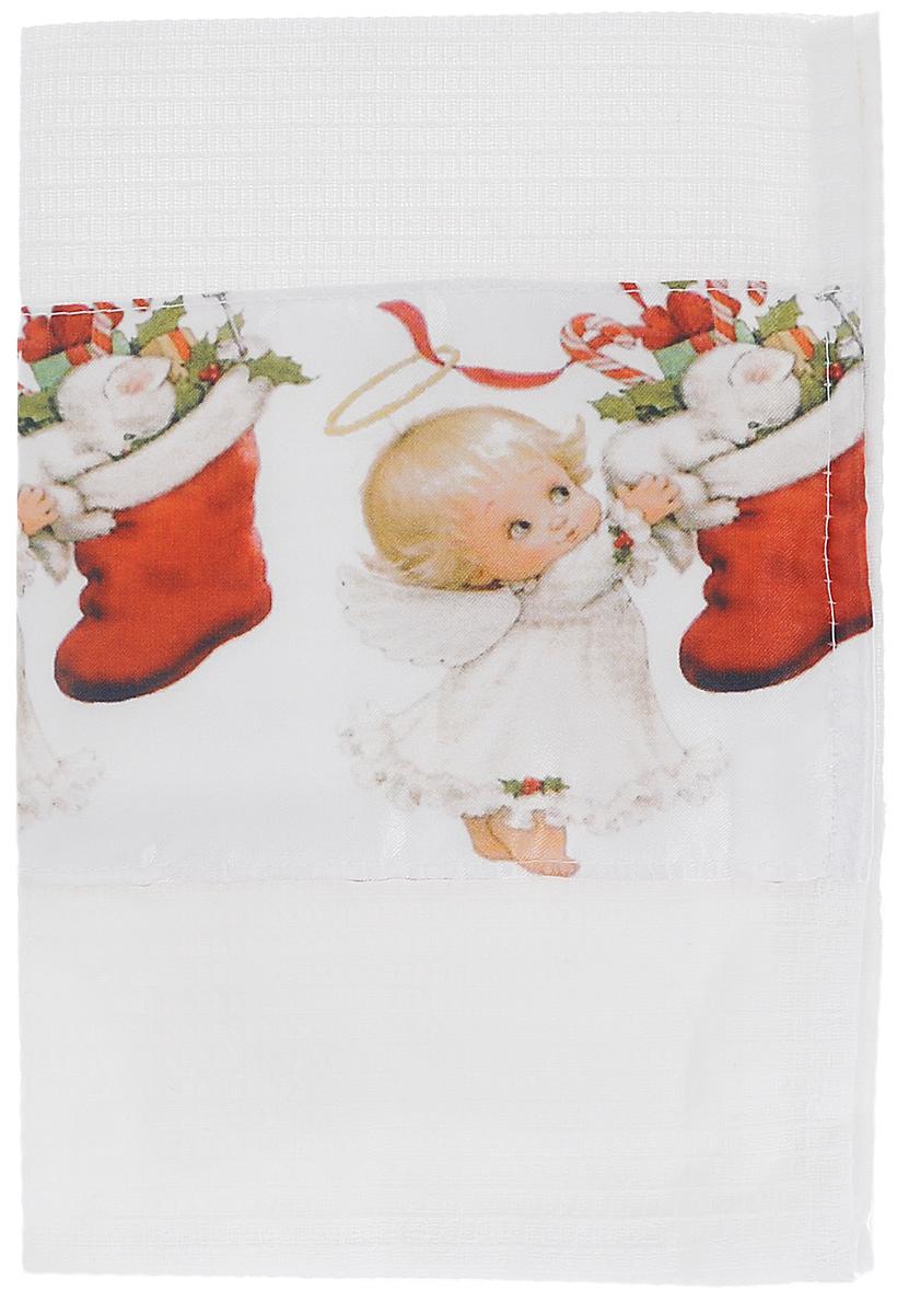 Полотенце кухонное Eva Зима, цвет: белый, красный, 60 х 34 смА061 ОК1Полотенце Eva Зима, выполненное из полиэстера и хлопка, оформлено ярким рисунком. Полотенце предназначено для использования на кухне и в столовой.Полотенце Eva Зима - отличный вариант для практичной и современной хозяйки.