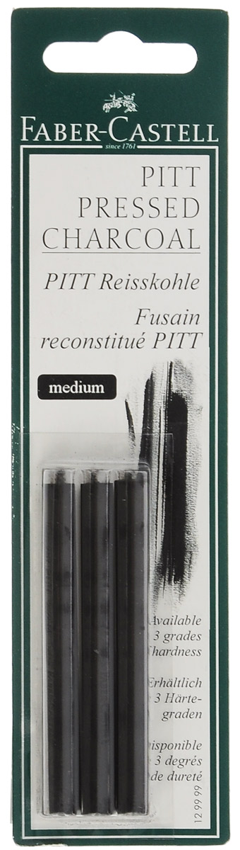 Faber-Castell Прессованный уголь Pitt Monochrome Medium 3 штEK 34933Прессованный уголь Faber-Castell Pitt Monochrome от всемирно известной компании Faber-Castell (Германия) - это один из самых высококачественных продуктов мирового лидера по производству графических материалов. Прессованный уголь изготавливается из угля, сажи и глины. Он передает самый точный оттенок черного, который вы только сможете найти. Прессованный уголь, в отличие от натурального, не такой сыпучий, им нельзя рисовать контуры на холсте, он не стирается с холста или картона, и предназначен в первую очередь для создания самостоятельных картин углем: портретов, пейзажей, натюрмортов. Картины будут очень насыщенными, так как прессованный уголь дает достаточно толстую, мягкую и насыщенную линию. Лучше использовать прессованный уголь как самостоятельный художественный элемент. Степень твердости: Medium. В комплекте 3 угольных стержня.