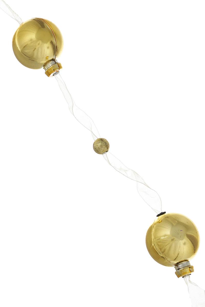 Новогодняя гирлянда Lunten Ranta, на ленте, цвет: золотой, длина 2 м09840-20.000.00Гирлянда Lunten Ranta идеально подойдет для украшения новогодней ели и декорирования интерьера. Изделие представляет собой ожерелье из пластиковых бусин, нанизанных на ленту. Оригинальный дизайн и красочное исполнение создадут праздничное настроение.Новогодние украшения всегда несут в себе волшебство и красоту праздника. Создайте в своем доме атмосферу тепла, веселья и радости, украшая его всей семьей.Диаметр бусин: 3 см, 0,8 см.