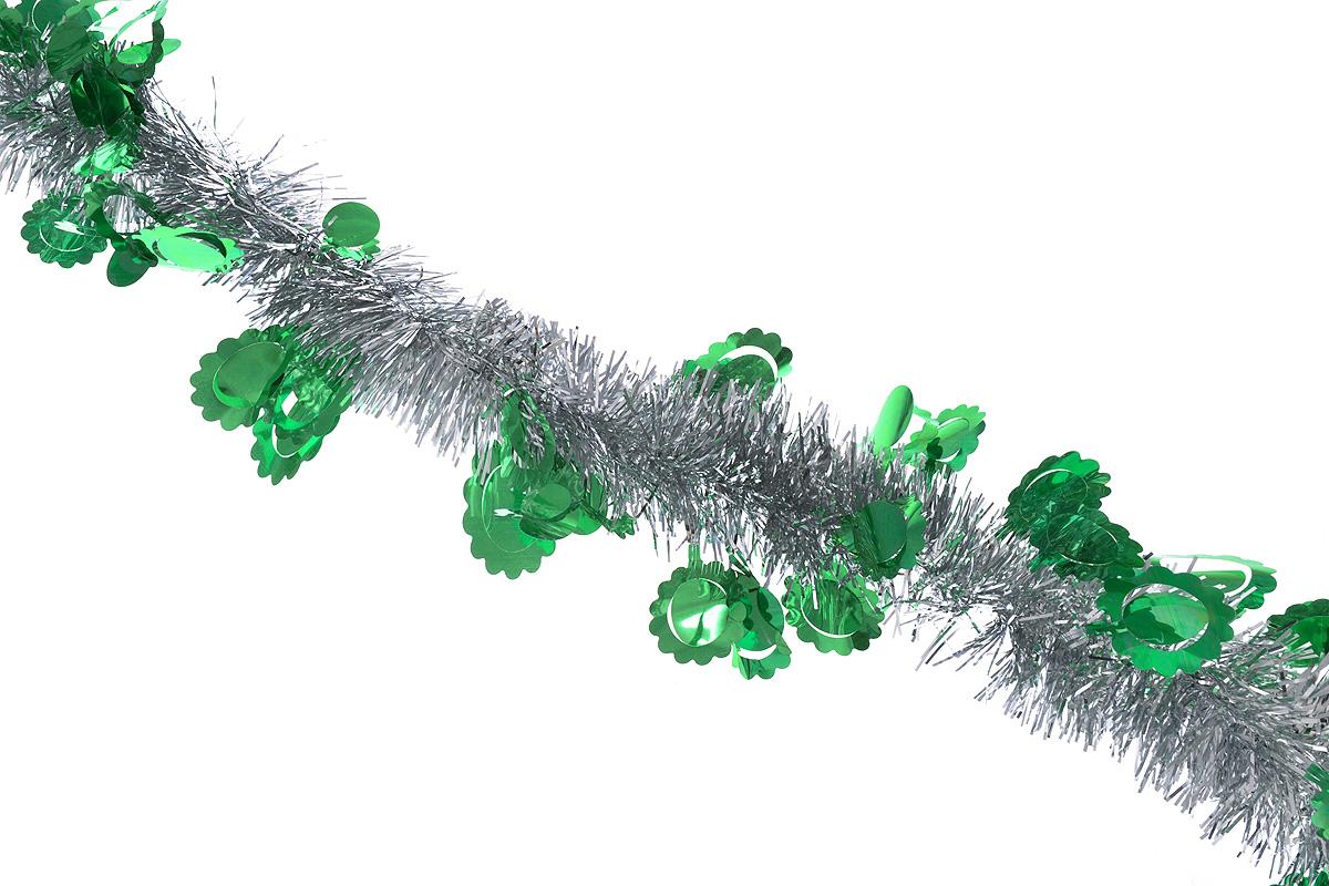 Мишура новогодняя Sima-land, цвет: серебристый, зеленый, диаметр 6 см, длина 200 см. 8259781071897Новогодняя мишура Sima-land, выполненная из фольги с дизайном в виде солнышка, поможетвам украсить свой дом к предстоящим праздникам. А новогодняя елка с таким украшениемстанет еще наряднее. Мишура армирована, то есть имеет проволоку внутри и способна сохранятьпридаваемую ей форму. Новогодней мишурой можно украсить все, что угодно - елку, квартиру, дачу, офис - как внутри, таки снаружи. Можно сложить новогодние поздравления, буквы и цифры, мишурой можно украсить идополнить гирлянды, можно выделить дверные колонны, оплести дверные проемы.