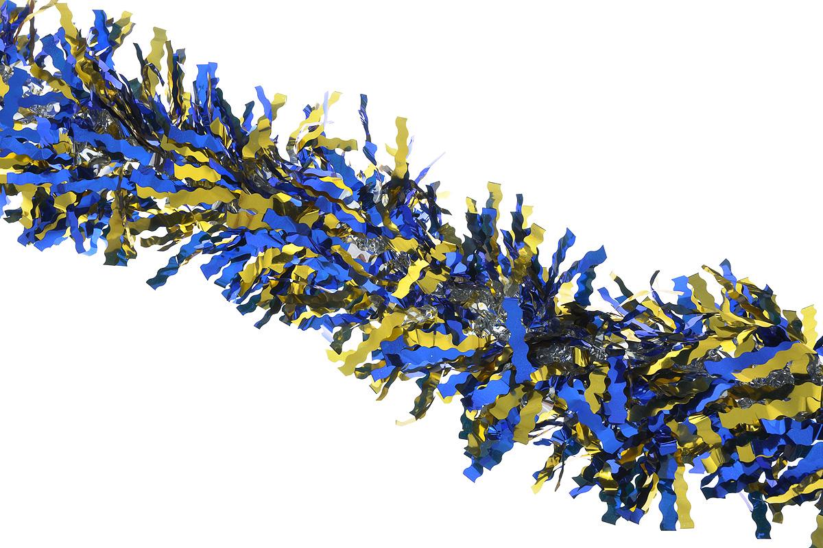 Мишура новогодняя Sima-land, цвет: синий, золотистый, диаметр 13 см, длина 200 см. 825987A5518AP-1SSПушистая новогодняя мишура Sima-land, выполненная из двухцветной фольги, поможет вамукрасить свой дом к предстоящим праздникам. А новогодняя елка с таким украшением станетеще наряднее. Мишура армирована, то есть имеет проволоку внутри и способна сохранятьпридаваемую ей форму. Новогодней мишурой можно украсить все, что угодно - елку, квартиру, дачу, офис - как внутри, таки снаружи. Можно сложить новогодние поздравления, буквы и цифры, мишурой можно украсить идополнить гирлянды, можно выделить дверные колонны, оплести дверные проемы.