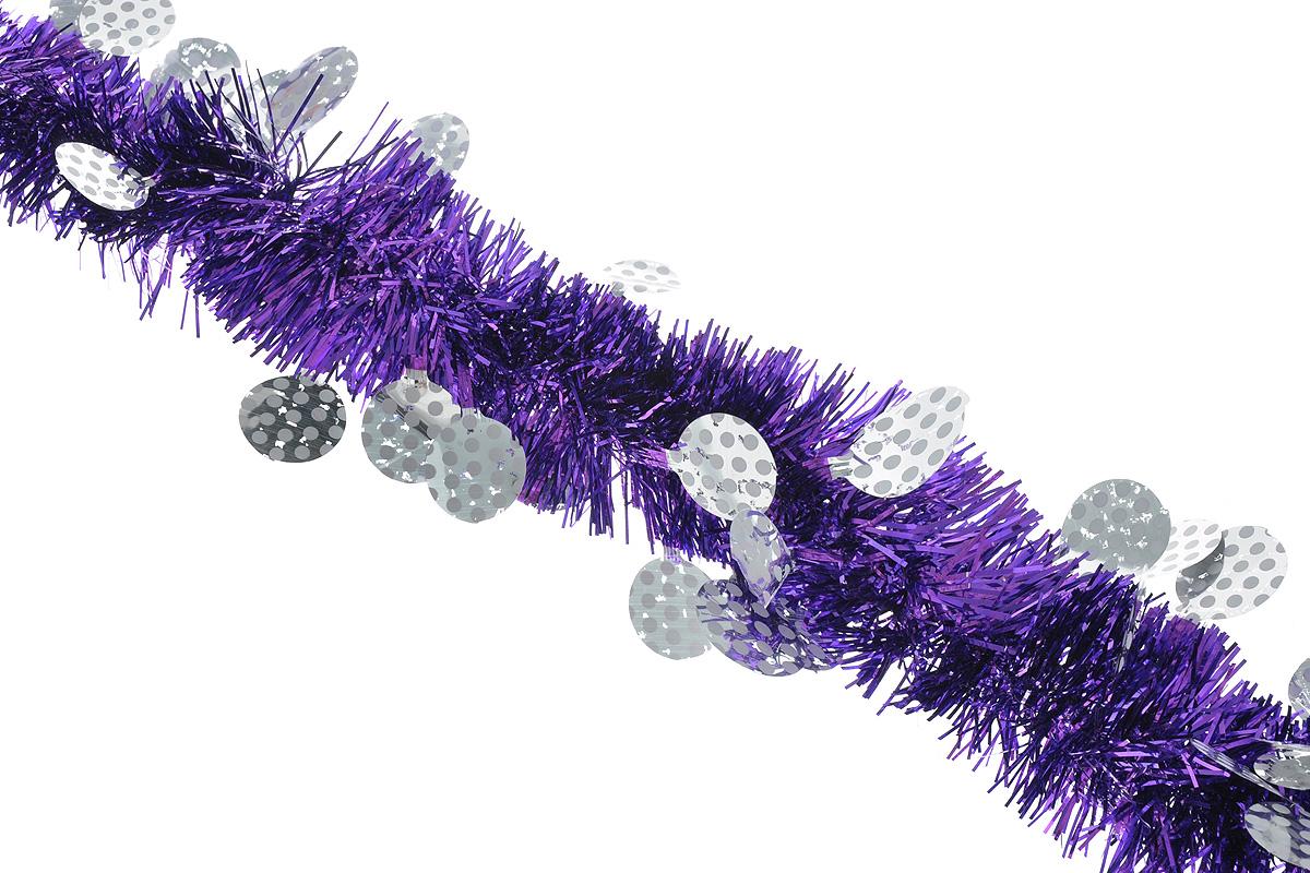 Мишура новогодняя Sima-land, цвет: фиолетовый, серебристый, диаметр 6 см, длина 200 см. 82597566356_1Пушистая новогодняя мишура Sima-land, выполненная из двухцветной фольги, поможет вамукрасить свой дом к предстоящим праздникам. А новогодняя елка с таким украшением станетеще наряднее. Мишура армирована, то есть имеет проволоку внутри и способна сохранятьпридаваемую ей форму. Новогодней мишурой можно украсить все, что угодно - елку, квартиру, дачу, офис - как внутри, таки снаружи. Можно сложить новогодние поздравления, буквы и цифры, мишурой можно украсить идополнить гирлянды, можно выделить дверные колонны, оплести дверные проемы.