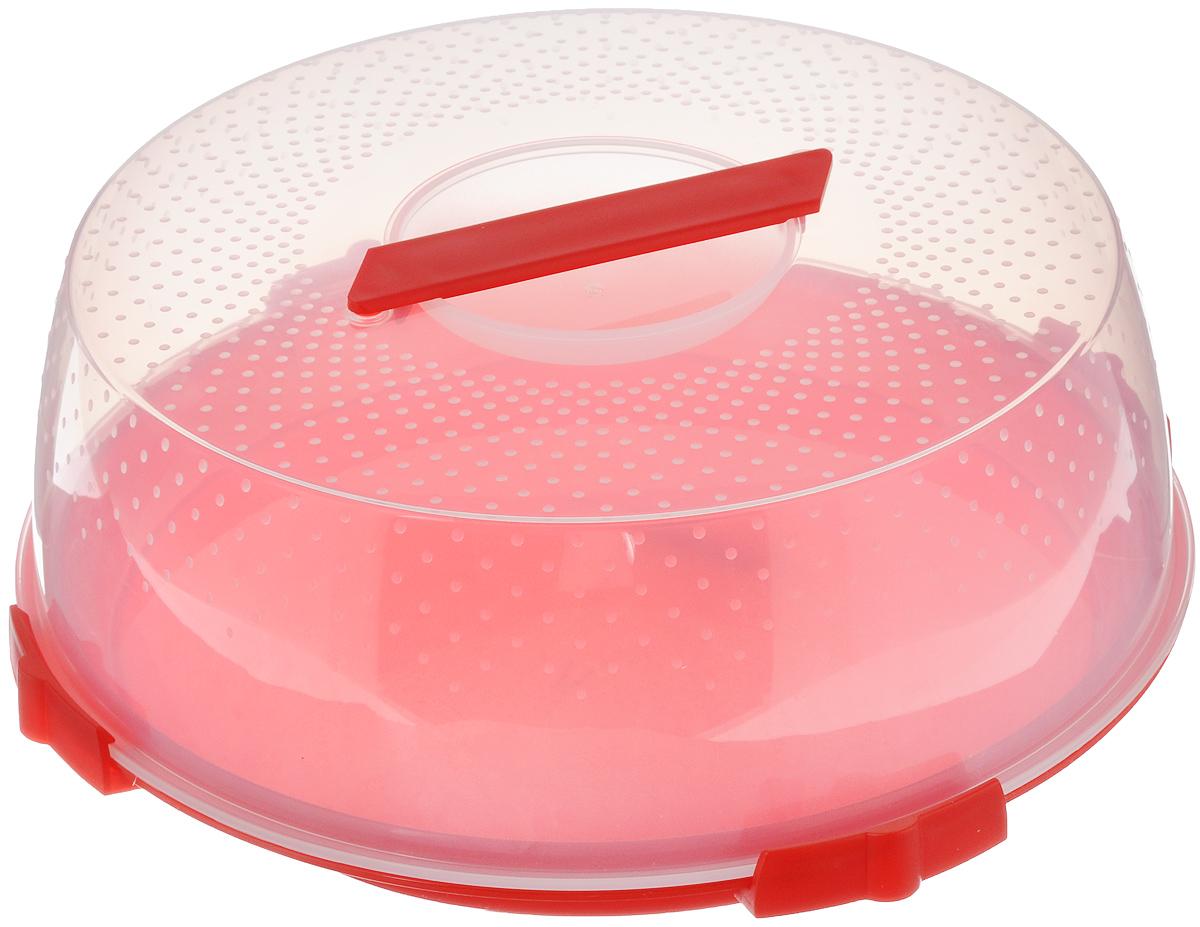 Тортница Cosmoplast Оазис, цвет: красный, прозрачный, диаметр 32 см115510Тортница Cosmoplast Оазис изготовлена из высококачественного прочного пищевого пластика. Тортница имеет удобную ручку для переноски и прочные фиксаторы крышки. Может использоваться в микроволновой печи и морозильной камере (выдерживает температуру от -30°С до +110°С). Очень гигиенична и легко моется. Можно мыть в посудомоечной машине. Диаметр тортницы: 32 см. Внутренний диаметр тортницы: 28 см. Высота тортницы: 13 см.