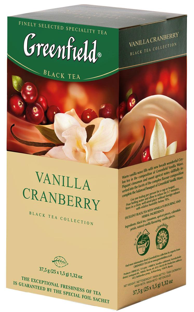 Greenfield Vanilla Cranberry черный чай в пакетиках, 25 шт0120710Теплая волна ванили наполняет новым дыханием великолепный цейлонский чай в композиции Greenfield Vanilla Cranberry. Прохладный, кисловато-сладкий аромат и свежая морозная горчинка спелой клюквы, виртуозно вплетенные в грани сложного вкуса, завершают великолепную композицию этого чая.