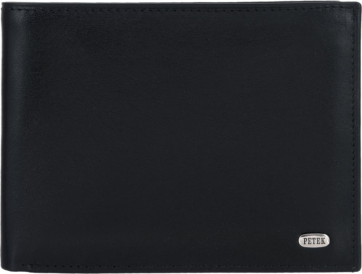 Портмоне мужское Petek 1855, цвет: черный. 220.000.01303Стильное мужское портмоне Petek 1855 выполнено из натуральной кожи с гладкой поверхностью. Лицевая сторона оформлена металлической пластиной с гравировкой в виде названия бренда.Изделие раскладывается пополам. Портмоне содержит двенадцать карманов для визиток и кредитных карт, семь потайных карманов и один плоский карман с сетчатым окошком, а также два кармана для купюр. Портмоне упаковано в фирменную коробку. Такое портмоне станет отличным подарком для человека, ценящего качественные и стильные вещи.