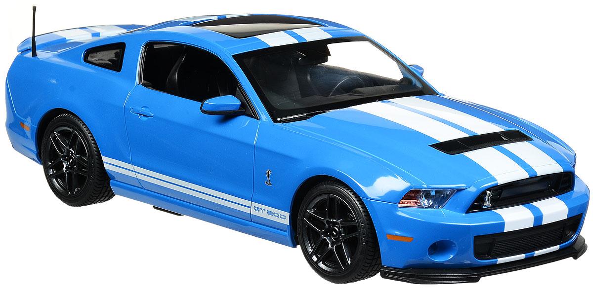 """Радиоуправляемая модель Rastar """"Ford Shelby GT500"""" станет отличным подарком любому мальчику! Все дети хотят иметь в наборе своих игрушек ослепительные, невероятные и крутые автомобили на радиоуправлении. Тем более, если это автомобиль известной марки с проработкой всех деталей, удивляющий приятным качеством и видом. Одной из таких моделей является автомобиль на радиоуправлении Rastar """"Ford Shelby GT500"""". Это точная копия настоящего авто в масштабе 1:14. Авто обладает неповторимым провокационным стилем и спортивным характером. Потрясающая маневренность, динамика и покладистость - отличительные качества этой модели. Возможные движения: вперед, назад, вправо, влево, остановка. Имеются световые эффекты. Пульт управления работает на частоте 40 MHz. Для работы игрушки необходимы 5 батареек типа АА (не входят в комплект). Для работы пульта управления необходима 1 батарейка 9V (6F22) (не входит в комплект)."""