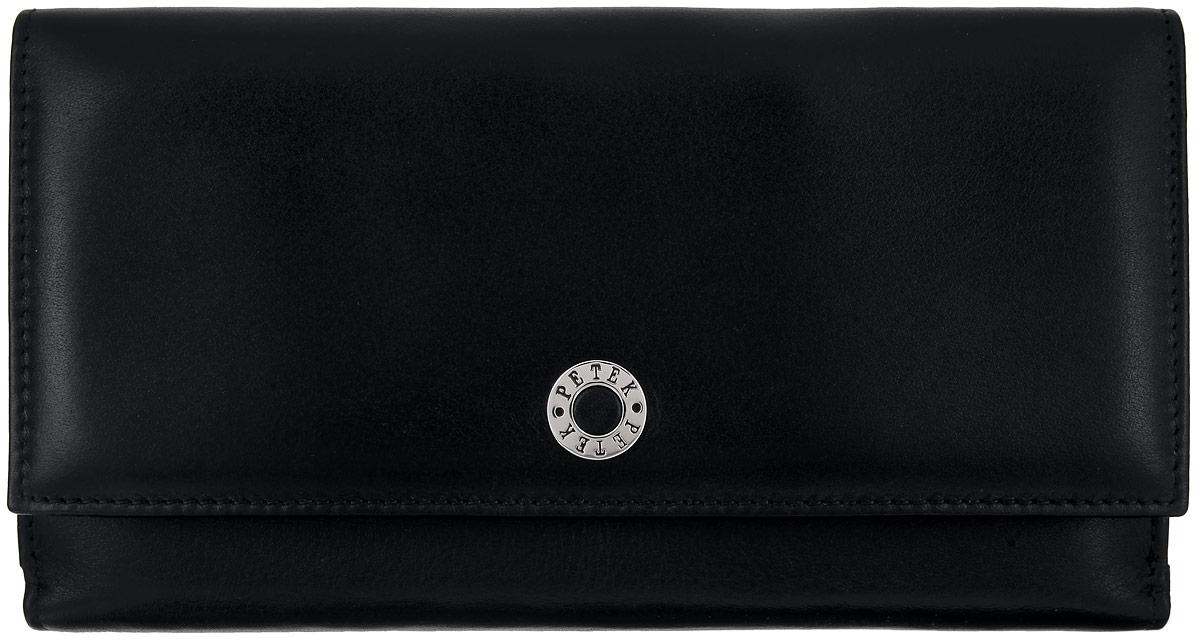 Портмоне женское Petek 1855, цвет: черный. 405.000.01BM8434-58AEЖенское портмоне Petek 1855 изготовлено из натуральной кожи. Изделие состоит из двух отсеков. В первом отсеке, который закрывается клапаном на застежку-кнопку, расположены пять горизонтальных карманов для пластиковых карт, один из которых с окошком из прозрачного сетчатого материала, три больших горизонтальных кармана, два отделения для купюр, карман для мелочи на застежке-молнии, небольшой прорезной карман на застежке-молнии. Во втором отсеке, который закрывается хлястиком на застежку-кнопку, расположены восемь вертикальных карманов разного размера, один из которых с окошком из прозрачного сетчатого материала и четыре больших горизонтальных кармана. Изделие упаковано в фирменную коробку.Стильное портмоне эффектно дополнит ваш образ и станет незаменимым аксессуаром на каждый день.