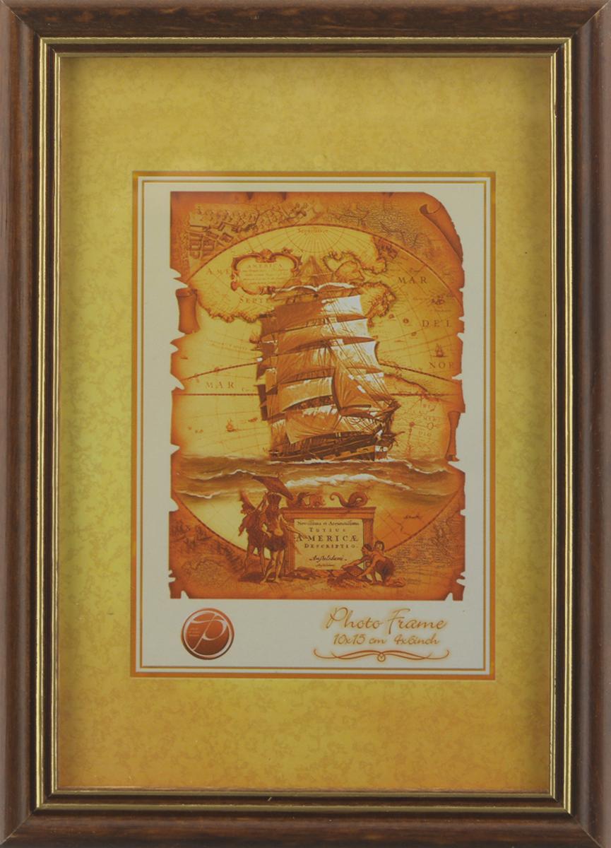 Фоторамка Pioneer Sandy, цвет: темно-коричневый, золотистый, 10 х 15 см110601017Фоторамка Sandy выполнена в классическом стиле из натурального дерева и стекла, защищающего фотографию. Оборотная сторона рамки оснащена специальной ножкой, благодаря которой ее можно поставить на стол или любое другое место в доме или офисе. Также на изделие имеются два специальных отверстия для подвешивания. Такая фоторамка поможет вам оригинально и стильно дополнить интерьер помещения, а также позволит сохранить память о дорогих вам людях и интересных событиях вашей жизни.