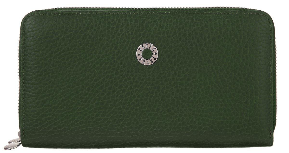 Портмоне женское Petek 1855, цвет: темно-зеленый. 479.46BD.65BM8434-58AEЖенское портмоне Petek 1855 изготовлено из натуральной кожи с зернистой поверхностью. Изделие состоит из двух отсеков, которые закрываются на застежку-молнию. В первом отсеке два отделения для купюр, шесть горизонтальных карманов для пластиковых карт, два больших горизонтальных кармана и карман для мелочи с застежкой-молнией. Во втором отсеке расположены двенадцать горизонтальных карманов для пластиковых карт и два больших горизонтальных кармана. Изделие упаковано в фирменную коробку.Стильное портмоне эффектно дополнит ваш образ и станет незаменимым аксессуаром на каждый день.