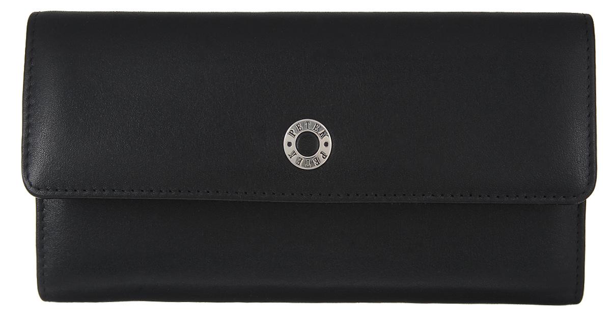 Портмоне женcкое Petek 1855, цвет: черный. 477/1.000.01BM8434-58AEЖенское портмоне Petek 1855 изготовлено из натуральной кожи с зернистой поверхностью. Изделие закрывается клапаном на застежку-кнопку. Основное отделение разделено на два отсека. В первом отсеке, расположены шесть горизонтальных карманов для пластиковых карт, один из которых с окошком из прозрачного сетчатого материала, два больших горизонтальных кармана, одно отделение для купюр. Во втором отсеке, который закрывается на застежку-кнопку, расположены два больших горизонтальных кармана и карман для мелочи на застежке-молнии. Изделие упаковано в фирменную коробку.Стильное портмоне эффектно дополнит ваш образ и станет незаменимым аксессуаром на каждый день.
