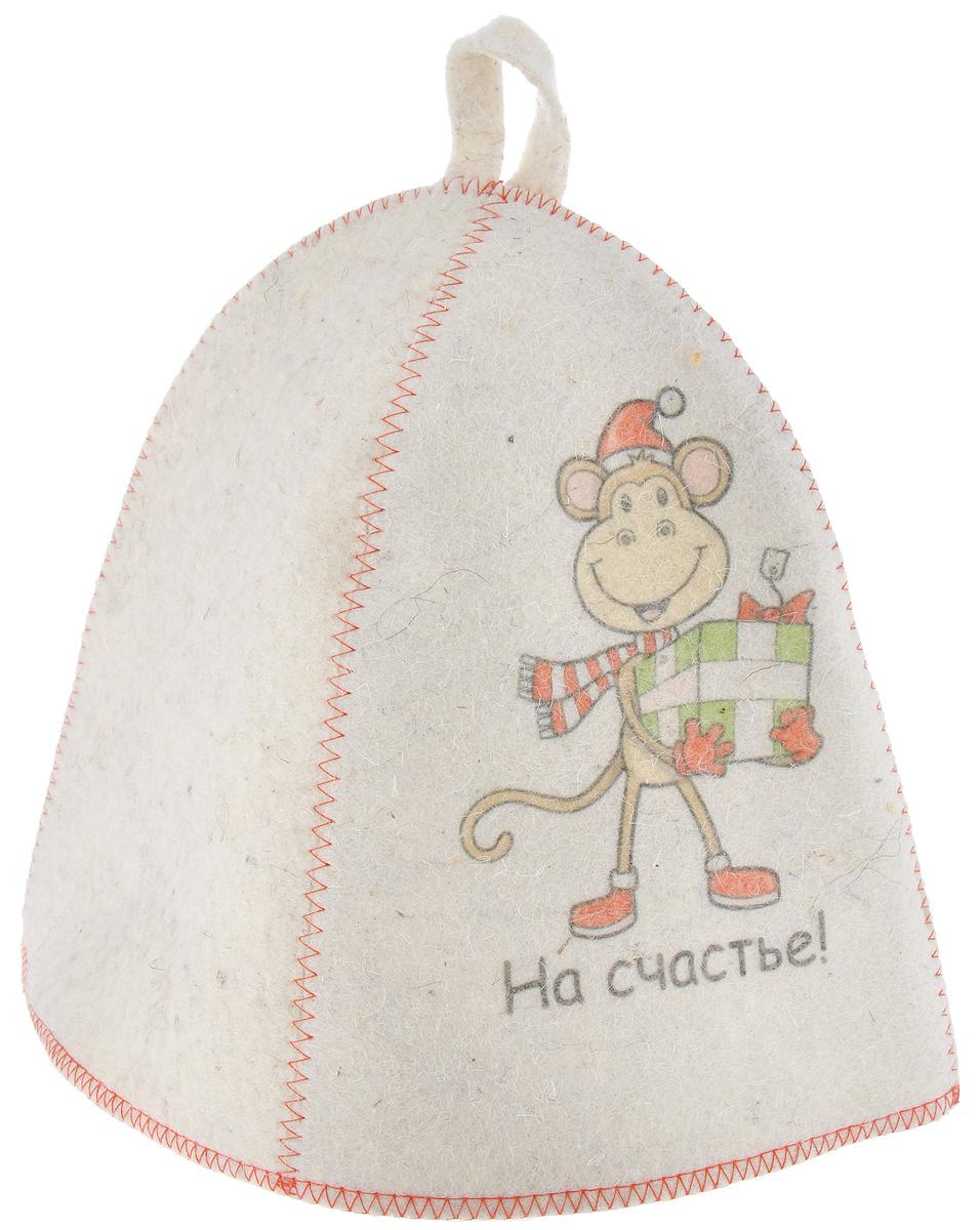Шапка для бани и сауны Главбаня На счастье!, войлокK100Банная шапка Главбаня На счастье! изготовлена из высококачественного войлока и декорирована изображением забавной обезьяны с подарком и надписью На счастье!. Банная шапка - это незаменимый аксессуар для любителей попариться в русской бане и для тех, кто предпочитает сухой жар финской бани. Кроме того, шапка защитит волосы от сухости и ломкости, голову от перегрева и предотвратит появление головокружения. На шапке имеется петелька, с помощью которой ее можно повесить на крючок в предбаннике. Такая шапка станет отличным подарком для любителей отдыха в бане или сауне.Обхват головы: 67 см.Высота шапки: 23 см.Материал: войлок (50% шерсть, 50% полиэфир).