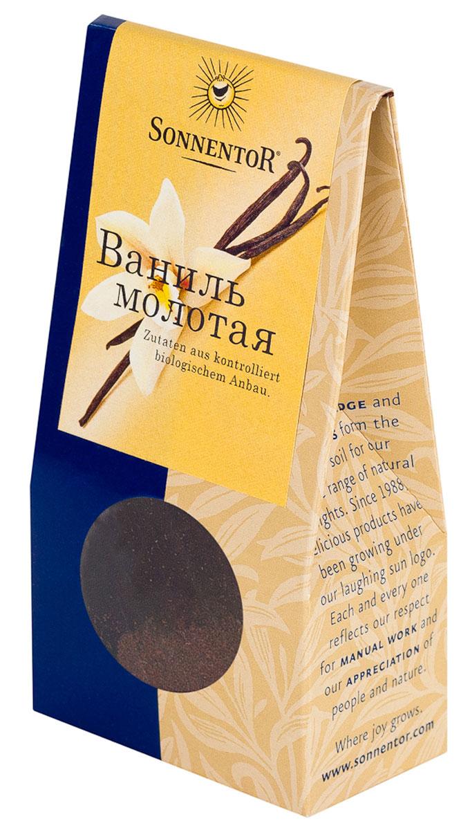 Sonnentor Ваниль молотая, 10 г0120710Sonnentor Ваниль - королева пряностей, особенно в кондитерских изделиях. Всем знаком тонкий, нежных и сладкий аромат белых кристалликов ванилина, но аромат настоящей ванили намного тоньше, невесомее и гораздо более стоек. Лучше всего добавлять ваниль в сладости: торты, пирожные, шоколад, муссы, желе, сладкие напитки, мороженное, а так же в некоторые мясные и рыбные блюда, соусы и подливы. Ваниль придает тонкий аромат компотам, чаям и настоям.