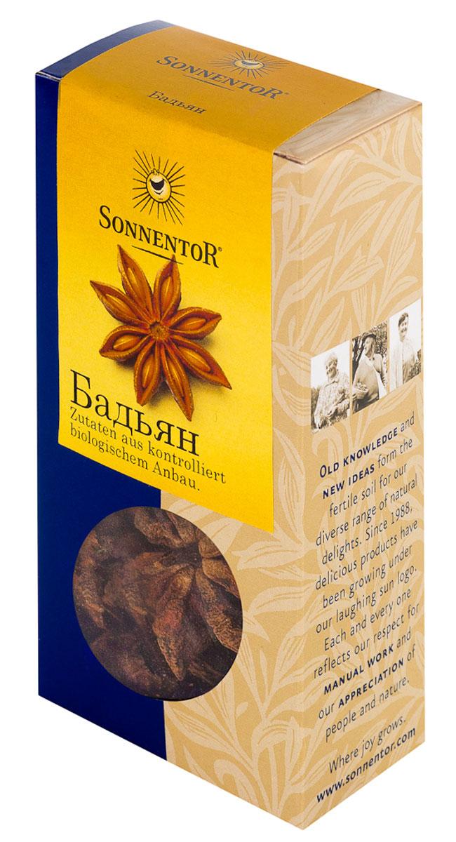 Sonnentor Бадьян, 25 г0120710Sonnentor Бадьян - это не только красиво, но и вкусно! На вкус бадьян сладковато-горьковат, острый, вяжущий, по запаху напоминает анис, но запах бадьяна значительно ароматнее, тоньше и сложнее. Его часто используют в кулинарии, парфюмерии и народной медицине.Придает чудесный вкус сладким пирожным и компотам. В китайской кухне анис звездами используют в супах, тушеных овощах, с уткой с добавление соевого соуса. Традиционно анис звездами используют для приготовления глинтвейна, можно также добавить одну звездочку аниса в чай. Данную специю также используют для пирогов, пряников, кексов и печенья.