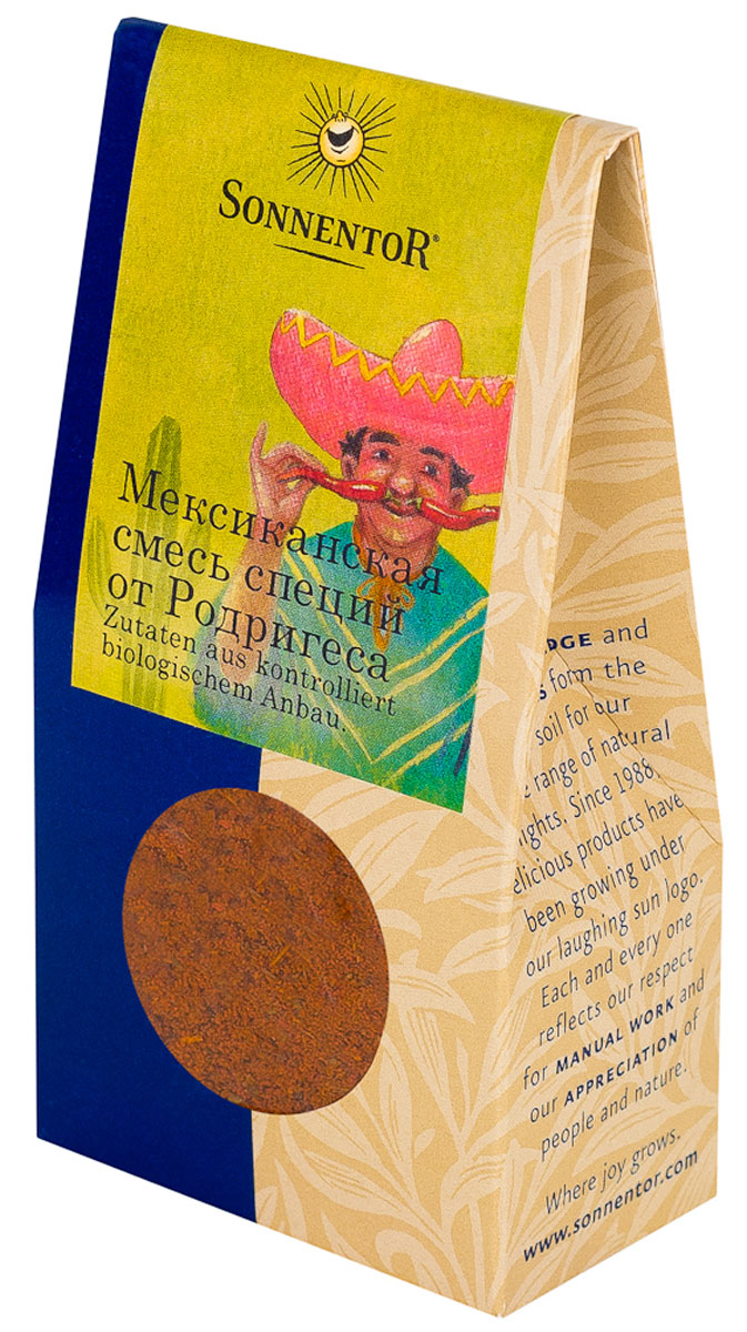Sonnentor: Мексиканская смесь специй от Родригеса, 40 г24Традиционно острая, пряная мексиканская смесь специй Sonnentor от Родригеса оценит каждый любитель погорячее. Она обеспечивает огненно-острый вкус и вносит разнообразие в любимые блюда.Эти специи универсальны в мексиканской кухне, используются в таких блюдах, как тушеное мясо, чили, лапша, рис или любые блюда из мяса, требующие добавления острых приправ. Состав: паприка сладкая,сушеные помидоры, чеснок, орегано, кумин, перец чили острый 6,5%, перец черный, лемонграсс, корица цейлонская.