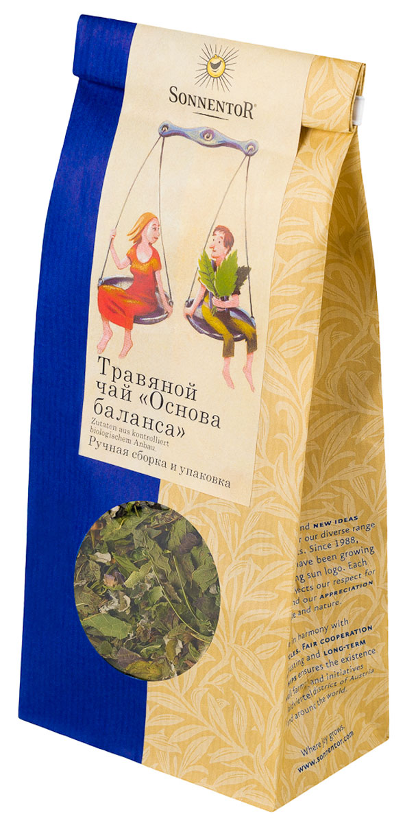 Sonnentor Основа баланса листовой травяной чай, 50 г70181-00Почувствуйте равновесие внутри себя!Пожалуй, каждый задумывается над тем, как достигнуть равновесия при таком сумасшедшем ритме жизни. Работа, свободное время и семейная жизнь – как сбалансированность эти важные составляющие счастья? Этот гармоничный, чувственный, мягкий травяной чай помогает найти внутреннее равновесие. Полезный для здоровья травяной сбор можно пить в течение дня, особенно он подходит в период лечебного голодания, соблюдения диеты или во время поста.Замечательно подходит к современной европейской кухне, а также к японским блюдам, таким как суши и маки. Кроме того, освежающий терпкий вкус прекрасно дополнит ризотто или овощное рагу.Травяной чай Основа баланса обладает интенсивным желтым цветом. Имеет тонкий аромат, а в его свежем вкусе преобладает мягкая терпкая цветочная нотка.