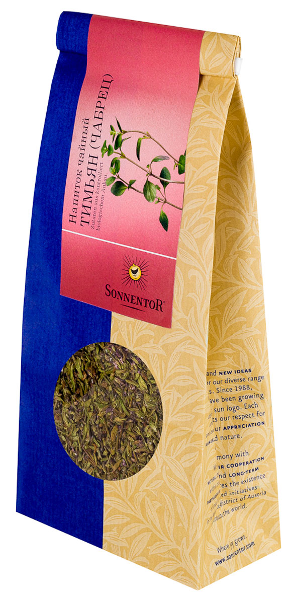 Sonnentor Тимьян (чабрец) листовой травяной чай, 70 г0120710Чай с чабрецом - необычайно полезный и вкусный напиток. С древнегреческого слово чабрец переводиться как сила духа, и это название как нельзя более лучше характеризует это растение. Его использовали в качестве очень сильного антисептического средства, а сама трава применялась в кулинарии и косметологии.Благодаря присутствию в составе вещества тимола, чабрец также получил второе название - тимьян. Чаи из чабреца помогут согреть или освежить вас в зависимости от погоды, а также окутают своим нежным ароматом. Этим напитком очень хорошо лечить больное горло. Нужно всего лишь бросить несколько веточек чабреца в крутой кипяток. После того, как чай завариться и остынет, добавьте мед по вкусу и выпивайте этот напиток понемногу на протяжении дня.Чай с чабрецом имеет насыщенный, темно-желтый цвет и глубокий пряный аромат. У чая пряный и слегка сладковатый вкус, с долгим послевкусием. Этот чай обладает замечательным согревающим эффектом в холодную пору и так же хорошо утоляет жажду, когда за окном палящий летний зной.