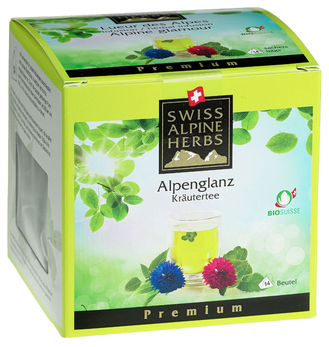 Swiss Alpine Herbs Альпийский гламур травяной чай в пакетиках, 14 шт80088-00Элитный чай в пирамидках Swiss Alpine Herbs– это вкусный, бодрящий и тонизирующий напиток. В его состав входят альпийские травы: мелисса, марокканская мята, апельсиновая мята, яблочная мята, монарда двойчатая, цветки василька голубого и красного. Это не просто вкусный, но и очень полезный чай, который обеспечит ваш организм необходимыми витаминами.