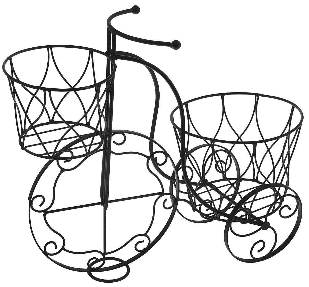 Кашпо Велосипед, цвет: черный, 41 х 18 х 35 см549-181Кашпо Велосипед изготовлено из металла в виде велосипеда. Кашпо имеет два отделения для горшков. Кашпо - декоративная ваза для цветочных горшков.Фигурные кашпо для цветов служат объектом декора помещения. Дом, украшенный фигурными кашпо, приобретает свою оригинальность, свой характер. Неожиданные и оригинальные кашпо для цветов - это самый простой и доступный способ сделать дом, дачу или приусадебную территорию неповторимыми. Кашпо Велосипед - красивый и оригинальный сувенир для друзей и близких.Размер кашпо: 41 см х 18 см х 35 см. Диаметр маленького отделения: 14 см. Диаметр большого отделения: 18 см.