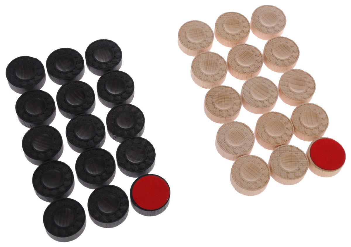 """Нарды - старинная игра, которая пользуется популярностью в народе среди самых разных слоев населения, несмотря на свой солидный возраст - история игры насчитывает несколько столетий. Фишки для нард """"Компания игра"""" изготовлены из высококачественного дерева, оснащены матерчатой подложкой и оформлены оригинальным орнаментом. В наборе - 30 фишек двух цветов. Такой набор станет полезным как новичкам, так и любителям этой увлекательной игры! Диаметр фишки: 3 см. Комплектация: 30 шт."""