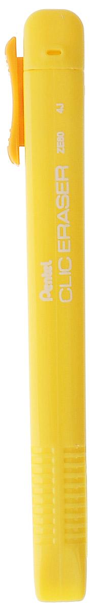 Pentel Ластик-карандаш Clic Eraser цвет желтый72523WDЛастик Pentel Clic Eraser в оригинальном исполнении станет незаменимым аксессуаром на рабочем столе не только школьника или студента, но и офисного работника. Безусловно, не каждый карандашный набросок получается с первого раза. Именно поэтому ластик просто необходим, чтобы вносить корректировки в свою работу. Мягкий белый ластик выполнен в стиле карандаша в ярком пластиковом корпусе.
