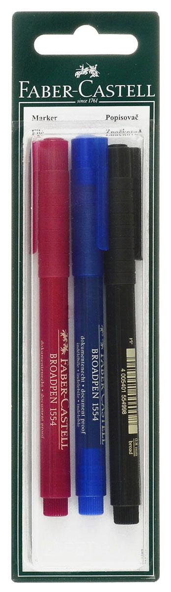 Faber-Castell Капиллярная ручка Broadpen 3 шт72523WDКапиллярная ручка Faber-Castell Broadpen пригодна для письма в документах. Это качественная ручка с перманентными, не выцветающими чернилами на водной основе. Наконечник пера ручки имеет размер 0,8 мм.В комплект входят 3 ручки красного, синего и черного цветов.
