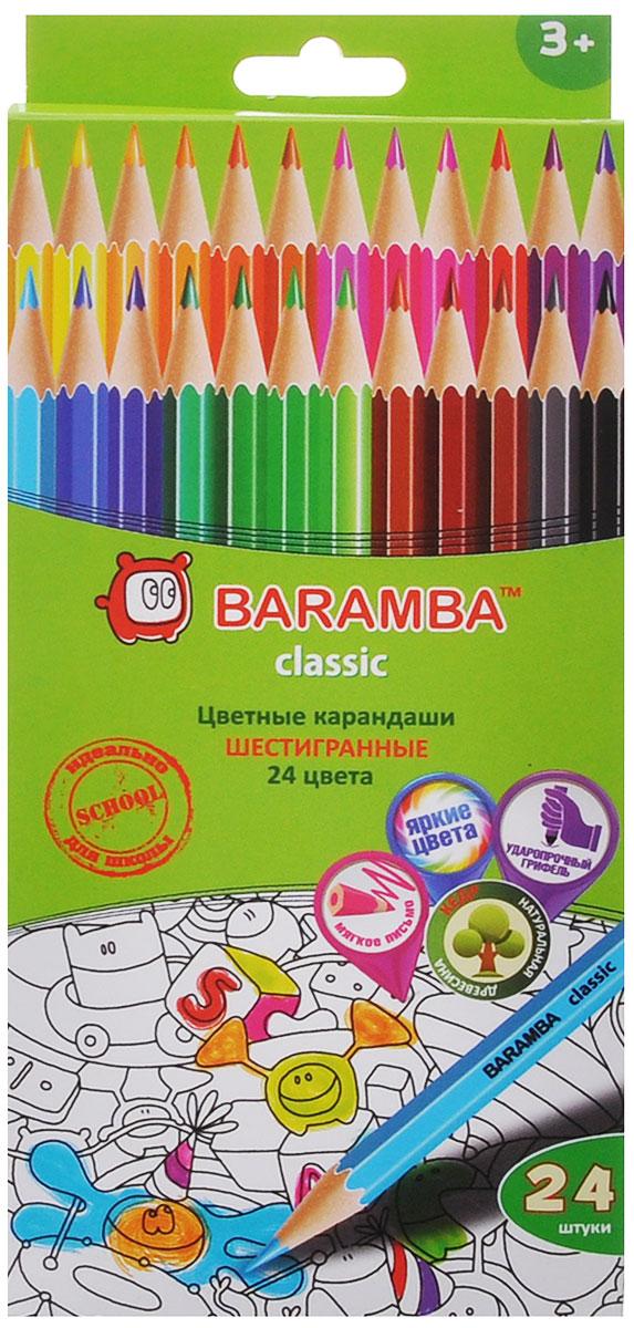 Baramba Набор цветных карандашей Classic 24 цветаB33124_без точилкиЦветные карандаши Baramba Classic откроют юным художникам новые горизонты для творчества, а также помогут отлично развить мелкую моторику рук, цветовое восприятие, фантазию и воображение. Традиционный шестигранный корпус изготовлен из натуральной древесины, гладкость которого обеспечена многослойной покраской. Карандаши удобно держать в руках, а мягкий грифель не требует сильного нажима и легко стирается ластиком. Комплект включает 24 заточенных карандаша ярких насыщенных цветов.