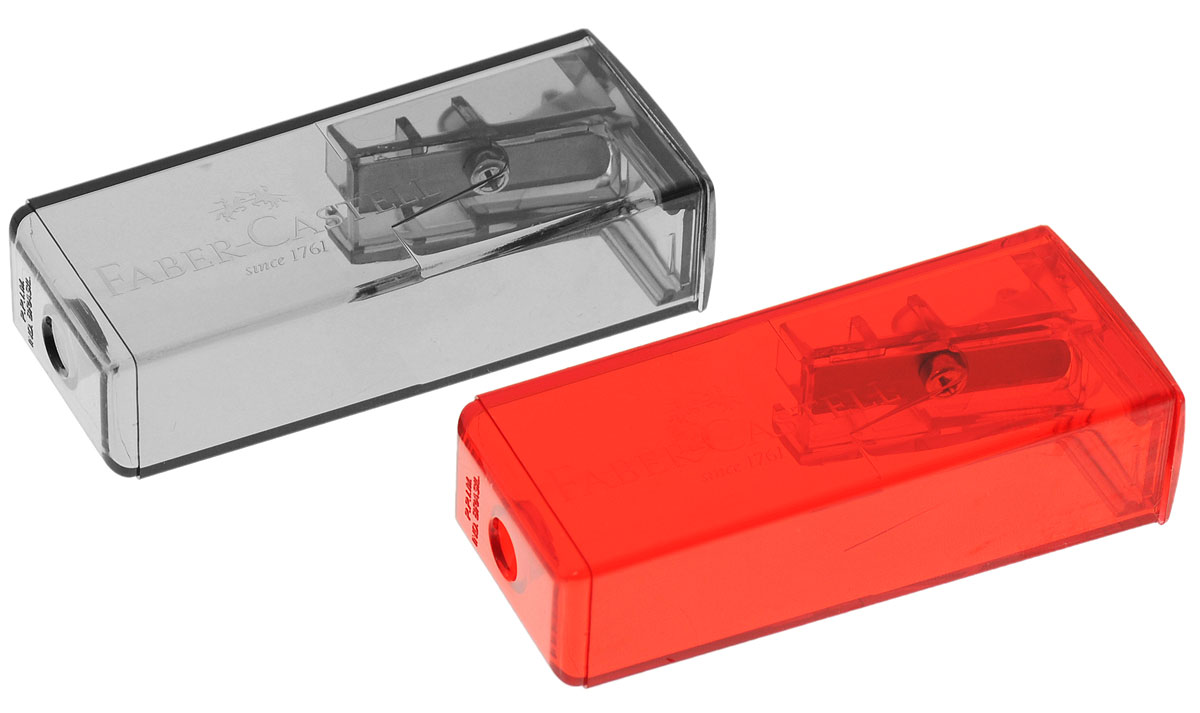 Faber-Castell Точилка флуоресцентная цвет серый красный 2 шт1418750Точилки Faber-Castell предназначены для затачивания карандашей диаметром 8 мм. Полупрозрачные контейнеры позволяют визуально определить уровень заполнения и вовремя произвести очистку. Острые лезвия обеспечивают высококачественную и точную заточку деревянных карандашей. В комплекте две точилки серого и красного цветов.