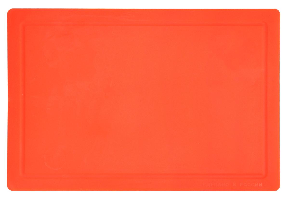 Доска разделочная TimA, гибкая, цвет: оранжевый, 36 х 25 смFS-91909Гибкая разделочная доска TimA изготовлена из безопасного пищевого полиуретана. Доска гнется, что позволяет удобно высыпать нарезанные продукты. Доска не тупит металлические и керамические ножи, не впитывает влагу и легко моется. Доска имеет исключительную прочность и износостойкость. По краям имеются желобки для стока жидкости.