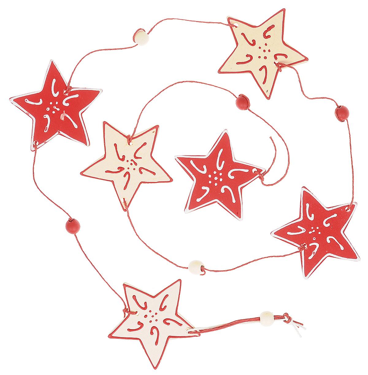 Новогоднее подвесное украшение Lunten Ranta Праздничная гирлянда, длина 100 смK100Новогоднее украшение Lunten Ranta Праздничная гирлянда отлично подойдет для декорации вашего дома и праздничной ели. Изделие выполнено в виде длинной подвески, декорированной деревянными фигурками звезд, нанизанными на текстильную нить. Елочная игрушка - символ Нового года. Она несет в себе волшебство и красоту праздника. Создайте в своем доме атмосферу веселья и радости, украшая всей семьей новогоднюю елку нарядными игрушками, которые будут из года в год накапливать теплоту воспоминаний.Размер фигурки (звезды): 6 см х 6 см х 0,5 см.