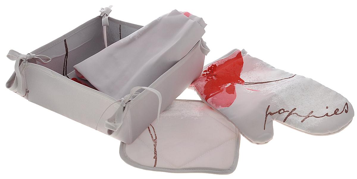 Набор кухонный Подушкино Поэма, 4 предметаFS-91909Кухонный набор Подушкино Поэма состоит из фартука, прихватки, варежки-прихватки и хлебницы. Изделия выполнены из высококачественного полиэстера с водоотталкивающей пропиткой. Красивый дизайн с цветочным принтом сделает этот набор желанным для любой хозяйки. Фартук универсального размера, имеет завязки на талии и лямку на шее, регулируемую по длине. Спереди содержится карман для мелочей. Прихватки помогут справиться с любой горячей посудой и сберегут ваши руки от ожогов. В комплекте также имеется хлебница с основанием из плотного картона, который прекрасно держит форму. Кухонный набор Подушкино Поэма незаменим на современной кухне! Яркий и оригинальный дизайн вдохновит вас на новые кулинарные подвиги. Размер фартука: 68 см х 75 см. Размер хлебницы: 20 см х 20 см х 7 см. Размер прихватки: 18 см х 18 см. Размер варежки-прихватки: 26 см х 18 см.