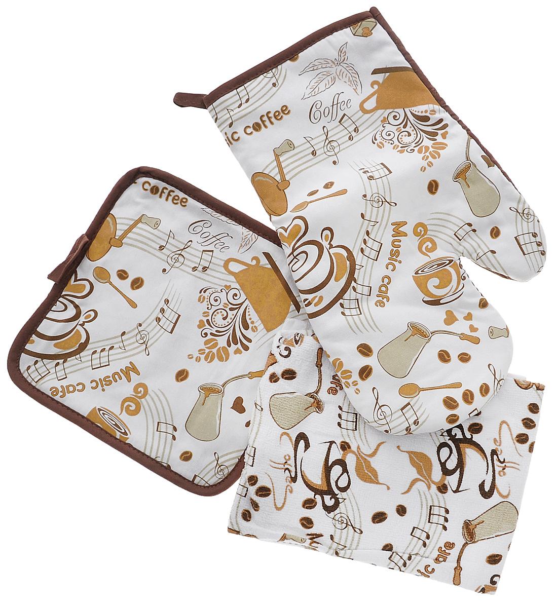 Набор кухонный Primavelle Кофе, 3 предмета. 45938584-k1054094Кухонный набор Primavelle Кофе состоит из прямоугольного полотенца, прихватки и варежки-прихватки. Изделия выполнены из натурального 100% хлопка и оформлены оригинальным принтом. Полотенце прекрасно впитывает влагу, легко стирается, хорошо сохраняет форму и цвет. Прихватки помогут справиться с любой горячей посудой и сберегут ваши руки от ожогов. Комплект прекрасно сочетается с фартуком, скатертью и силиконовой рукавицей в аналогичном дизайне, что делает его стильным и полезным подарком для каждой хозяйки. Кухонный набор Primavelle Кофе незаменим на современной кухне! Яркий и оригинальный дизайн вдохновит вас на новые кулинарные подвиги. Размер полотенца: 38 х 64 см. Размер прихватки: 20 х 20 см. Размер варежки-прихватки: 18 х 33 см.