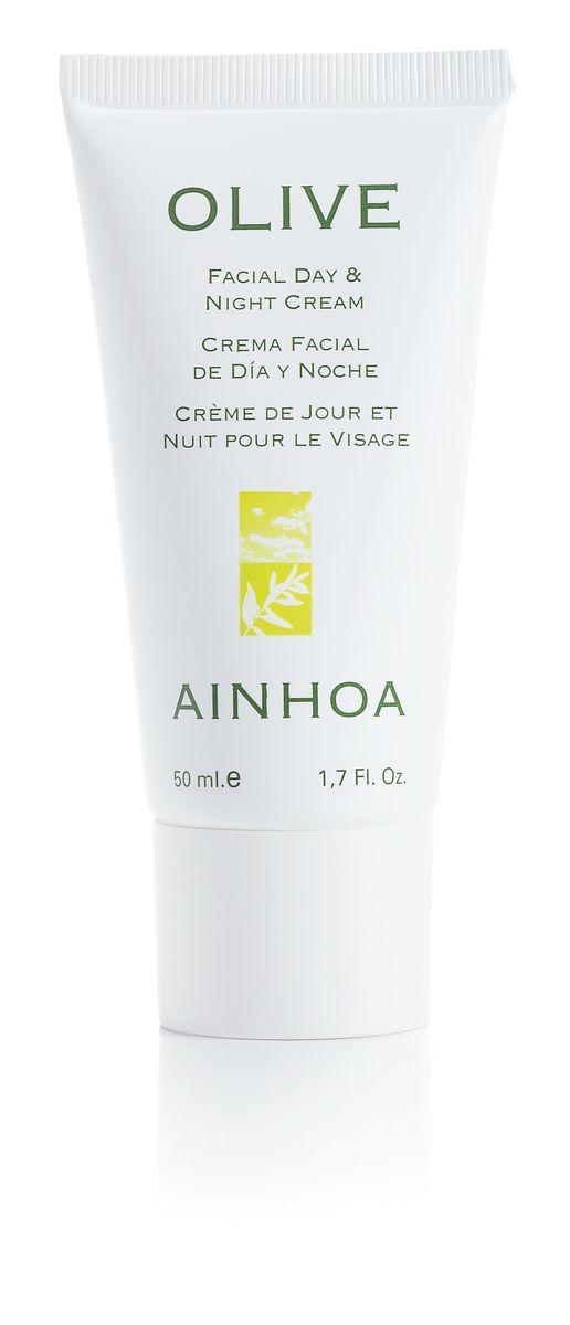 Ainhoa Olive Увлажняющий крем для лица дневной/ночной, 50 мл15019Увлажняющий крем для лица с легкой текстурой прекрасно впитывается и дарит коже мягкость и ощущение комфорта. В основе крема – оливковое масло, которое увлажняет, питает кожу и предотвращает образование морщин, и витамин Е, который повышает эластичность кожи и защищает от свободных радикалов. Экстракт лимона освежает и обладает антиоксидантными свойствами. Активные компоненты: оливковое масло, сквален, масло ши, витамин Е. Способ применения: наносите утром и вечером на очищенную кожу лица и шеи.