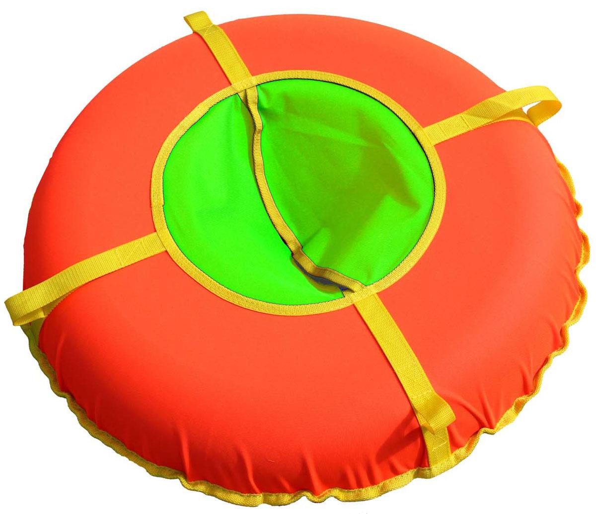 Тюбинг Super Jet Tubing Ultra, цвет: оранжевый, салатовый, диаметр 75 см сани надувные super jet tubing princess диаметр в надутом состоянии 62 см рисунок принцессы арт sjt 62r