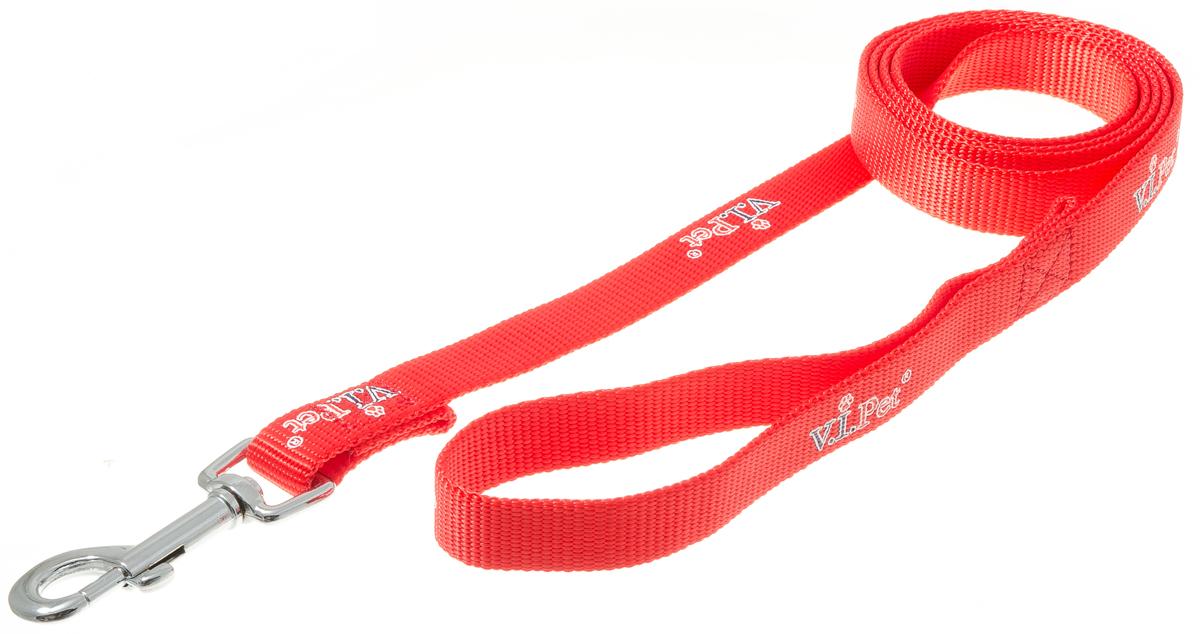 Поводок для собак V.I.Pet, цвет: красный, ширина 20 мм, длина 1,5 м. 73-08570120710Поводок с карабином и ручкой. Смягчает рывки и делает комфортным выгул собаки. Материал поводка отличается повышенной прочностью, мало подвержен механическому воздействию, поэтому надолго сохранит аккуратный внешний вид и насыщенность цвета. Вращающийся вертлюг карабина предотвращает перекручивание поводка. Материал: нейлон, сталь.Цвет: красный.