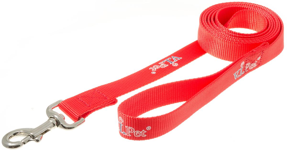 Поводок для собак V.I.Pet, цвет: красный, ширина 25 мм, длина 2 м73-0864Поводок с карабином V.I.Pet, изготовленный из нейлона, предназначен для выставок и повседневного выгула. Материал поводка отличается повышенной прочностью, мало подвержен механическому воздействию, поэтому надолго сохранит аккуратный внешний вид и насыщенность цвета. Вращающийся вертлюг карабина предотвращает перекручивание поводка.