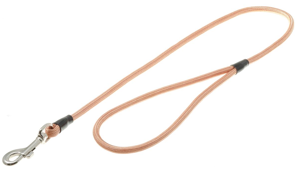Поводок для собак V.I.Pet, цвет: медь, диаметр 6 мм, длина 70 см73-0890Поводок с карабином V.I.Pet, изготовленный из нейлона, предназначен для выставок и повседневного выгула. Материал поводка отличается повышенной прочностью, мало подвержен механическому воздействию, поэтому надолго сохранит аккуратный внешний вид и насыщенность цвета. Вращающийся вертлюг карабина предотвращает перекручивание поводка.