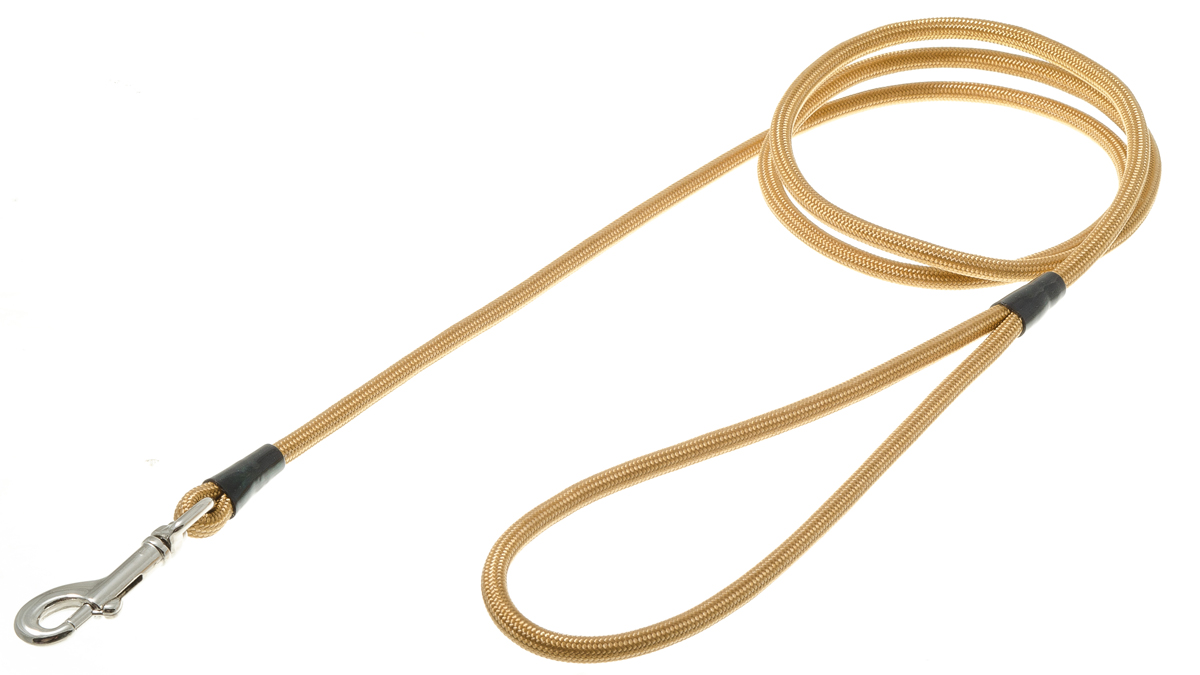 Поводок для собак V.I.Pet, цвет: золото, диаметр 6 мм, длина 130 см0120710Поводок с карабином V.I.Pet, изготовленный из нейлона, предназначен для выставок и повседневного выгула. Материал поводка отличается повышенной прочностью, мало подвержен механическому воздействию, поэтому надолго сохранит аккуратный внешний вид и насыщенность цвета. Вращающийся вертлюг карабина предотвращает перекручивание поводка.