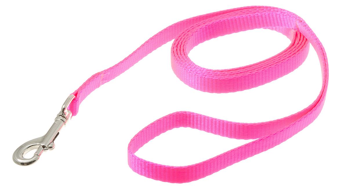 Поводок для собак V.I.Pet, цвет: розовый, ширина 10 мм, длина 1,5 м0120710Поводок с карабином V.I.Pet, изготовленный из нейлона, предназначен для выставок и повседневного выгула. Материал поводка отличается повышенной прочностью, мало подвержен механическому воздействию, поэтому надолго сохранит аккуратный внешний вид и насыщенность цвета. Вращающийся вертлюг карабина предотвращает перекручивание поводка.