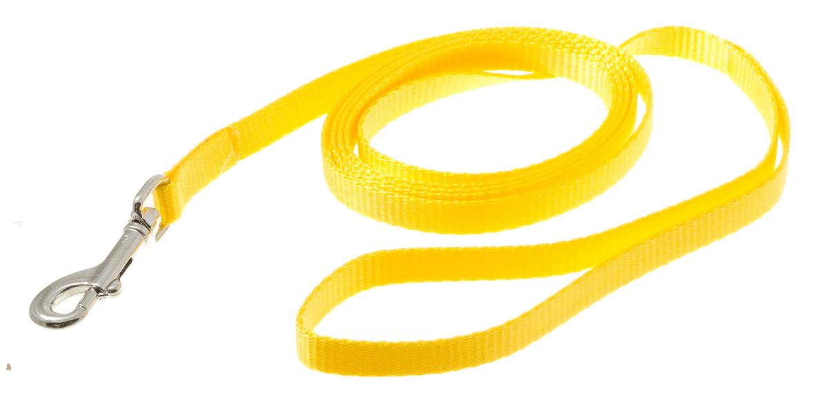 Поводок для собак V.I.Pet, цвет: золотой, ширина 10 мм, длина 2 м72-0768Поводок с карабином V.I.Pet, изготовленный из нейлона, предназначен для выставок и повседневного выгула. Материал поводка отличается повышенной прочностью, мало подвержен механическому воздействию, поэтому надолго сохранит аккуратный внешний вид и насыщенность цвета. Вращающийся вертлюг карабина предотвращает перекручивание поводка.