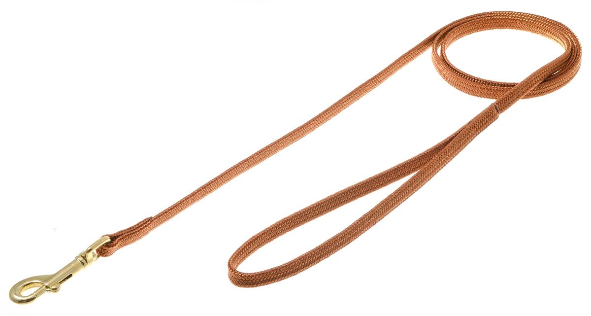 Поводок для собак V.I.Pet, цвет: золотистый, светло-коричневый, ширина 7 мм, длина 120 см73-2473Поводок с карабином V.I.Pet, изготовленный из нейлона, предназначен для выставок и повседневного выгула. Материал поводка отличается повышенной прочностью, мало подвержен механическому воздействию, поэтому надолго сохранит аккуратный внешний вид и насыщенность цвета. Вращающийся вертлюг карабина предотвращает перекручивание поводка.