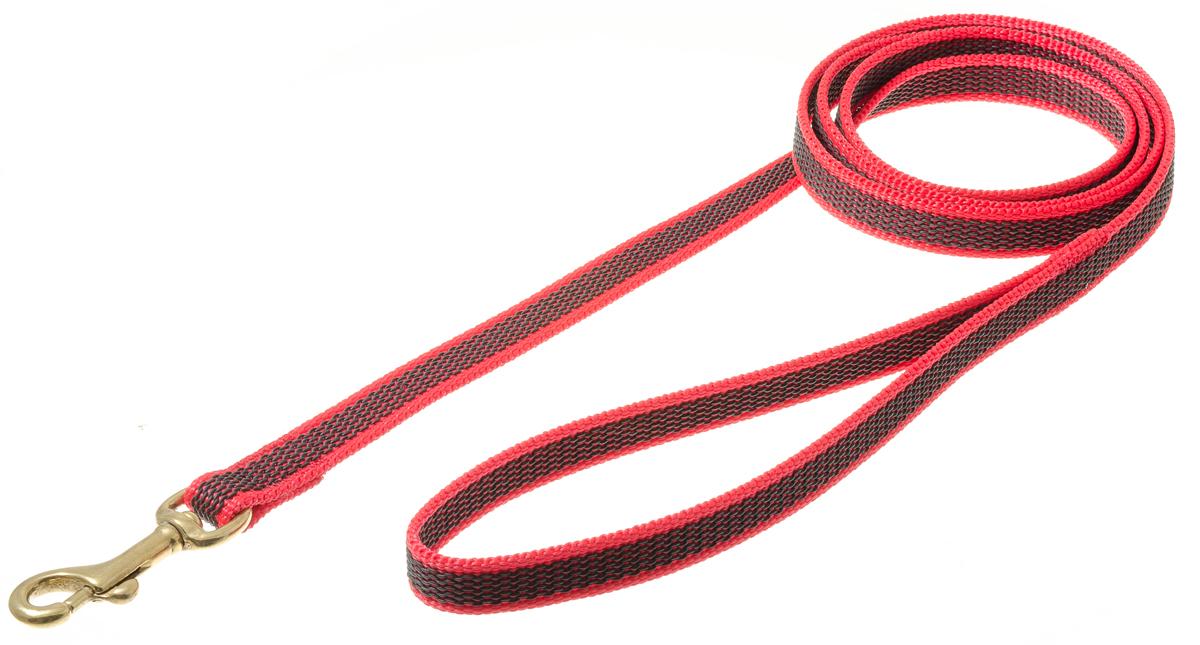 Поводок для собак V.I.Pet, профессиональный, цвет: золотистый, красный, ширина 15 мм, длина 1,5 м73-2580Профессиональный нейлоновый поводок V.I.Pet с латексной нитью предназначен для дрессировки собак, а также для повседневного использования. Подойдет для сильных и активных собак. Не скользит, не обжигает руки. Вращающийся вертлюг карабина предотвращает перекручивание поводка.Ширина поводка: 15 мм.