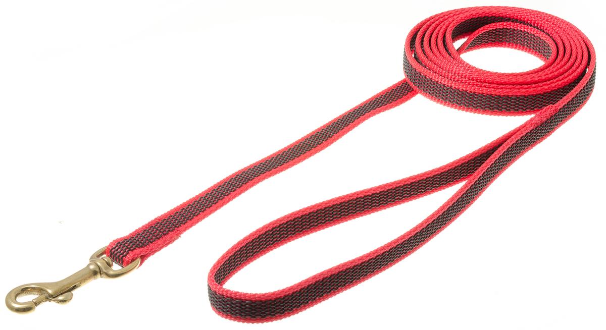 Поводок для собак V.I.Pet, профессиональный, цвет: золотистый, красный, ширина 15 мм, длина 2 м73-2582Профессиональный нейлоновый поводок V.I.Pet с латексной нитью предназначен для дрессировки собак, а также для повседневного использования. Подойдет для сильных и активных собак. Не скользит, не обжигает руки. Вращающийся вертлюг карабина предотвращает перекручивание поводка.Ширина поводка: 15 мм.