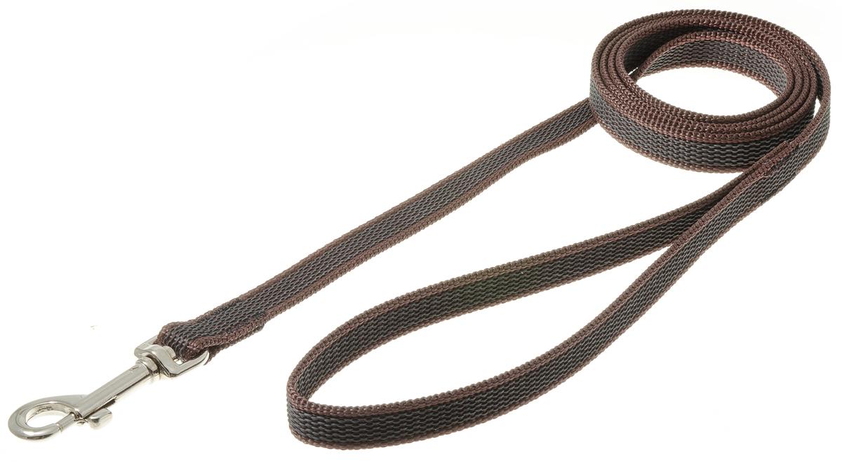 Поводок для собак V.I.Pet, профессиональный, цвет: стальной, коричневый, ширина 15 мм, длина 1,5 м72-0810Профессиональный нейлоновый поводок V.I.Pet с латексной нитью предназначен для дрессировки собак, а также для повседневного использования. Подойдет для сильных и активных собак. Не скользит, не обжигает руки. Вращающийся вертлюг карабина предотвращает перекручивание поводка.Ширина поводка: 15 мм.