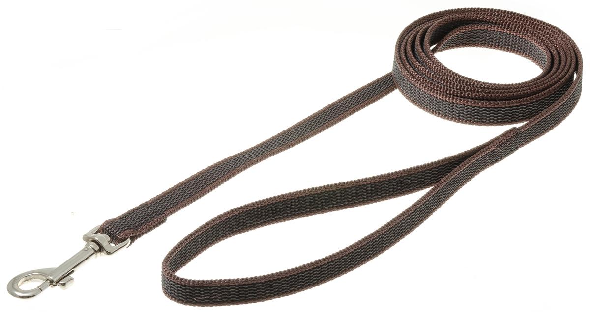 Поводок для собак V.I.Pet, профессиональный, цвет: стальной, коричневый, ширина 15 мм, длина 2 м поводок для собак collar soft цвет коричневый диаметр 6 мм длина 1 83 м