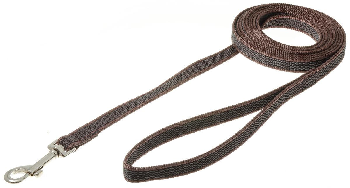 Поводок для собак V.I.Pet, профессиональный, цвет: стальной, коричневый, ширина 15 мм, длина 3 м поводок для собак collar soft цвет коричневый диаметр 6 мм длина 1 83 м