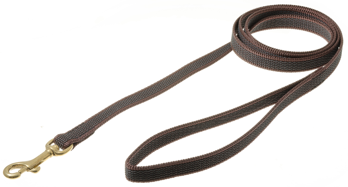 Поводок для собак V.I.Pet, профессиональный, цвет: золотистый, коричневый, ширина 15 мм, длина 1,5 м0120710Профессиональный нейлоновый поводок V.I.Pet с латексной нитью предназначен для дрессировки собак, а также для повседневного использования. Подойдет для сильных и активных собак. Не скользит, не обжигает руки. Вращающийся вертлюг карабина предотвращает перекручивание поводка.Ширина поводка: 15 мм.