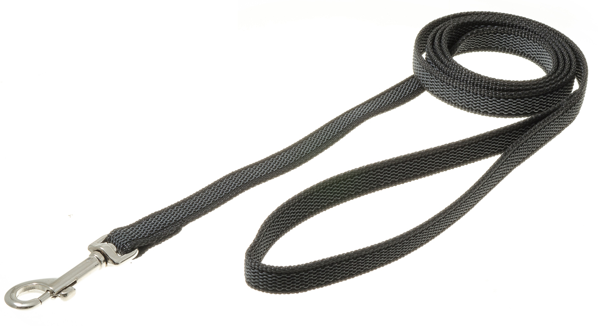 Поводок для собак V.I.Pet, профессиональный, цвет: серый, черный, ширина 15 мм, длина 1,5 м0120710Профессиональный нейлоновый поводок V.I.Pet с латексной нитью предназначен для дрессировки собак, а также для повседневного использования. Подойдет для сильных и активных собак. Не скользит, не обжигает руки. Вращающийся вертлюг карабина предотвращает перекручивание поводка.Ширина поводка: 15 мм.