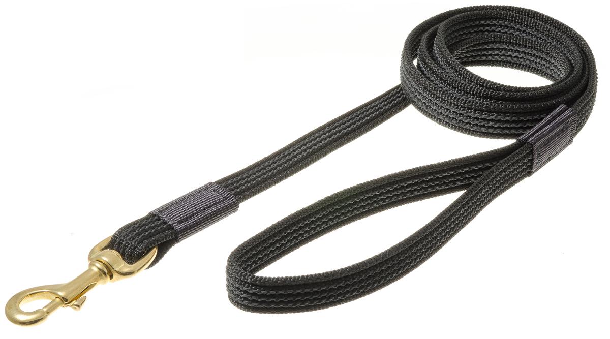 Поводок для собак V.I.Pet, цвет: черный, ширина 20 мм, длина 1,5 м. ПК1.5/20ЛБ0120710Поводок профессиональный нейлоновый, с латексной нитью, двухсторонний. Предназначен для дрессировки собак, а также для повседневного использования. Подойдет для сильных и активных собак. Не скользит, не обжигает руки. Вращающийся вертлюг карабина предотвращает перекручивание поводка. Материал: нейлон, латекс, стальной карабин.Цвет: черный.
