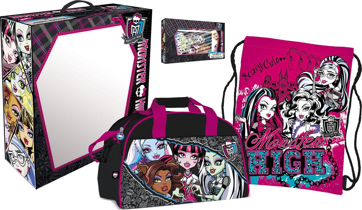 Набор подарочный Monster High. MHBZ-US1-51BOX5-V172523WDДевушки из Школы Монстров подготовили целый склеп для того, чтобы обучаться и получать знания. Тем, кто обожает все монстрическое и хочет начать новую четверть в стиле Monster High, просто необходим этот комплект.
